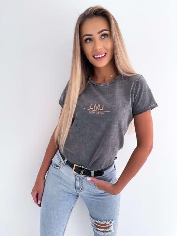 Szary marmurkowy T-shirt La Manuel
