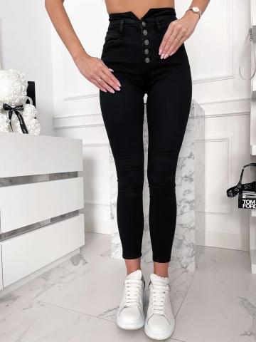 Czarne gładkie spodnie wysoki stan