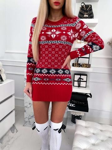 Czerwona świąteczna tunika w gwiazdki