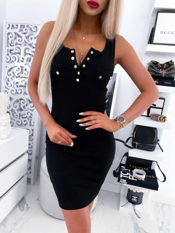 Sukienka czarna bez rękawów z napami