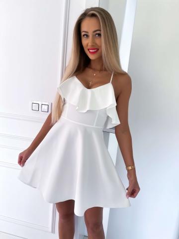 Biała rozkloszowana sukienka na ramiączkach Eva