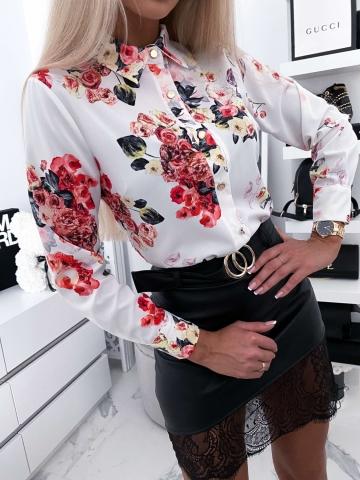 Koszula biała w kwiaty