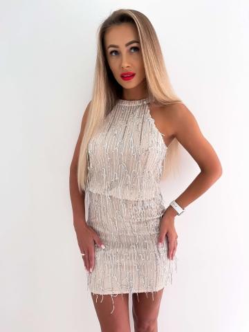 Sukienka cekinowa z frędzlami Fusion Silver