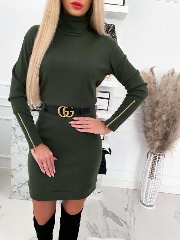 Zielona sweterkowa sukienka golf Marii