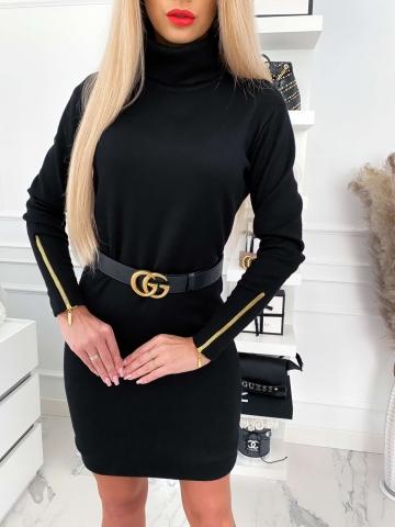Czarna sweterkowa sukienka golf Marii
