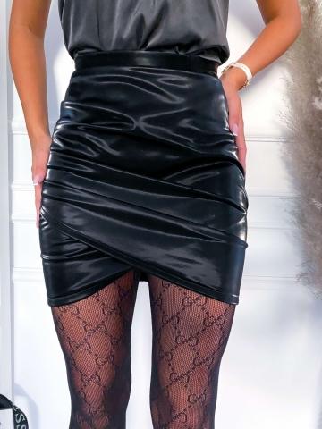 Czarna lateksowa spódnica Lila