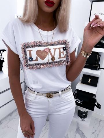 Biały T-shirt z napisem LOVE