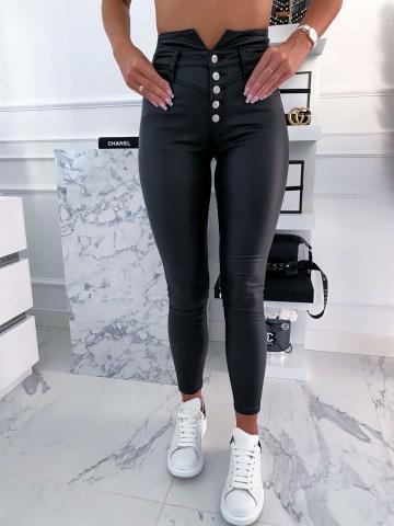 Czarne spodnie woskowane wysoki stan