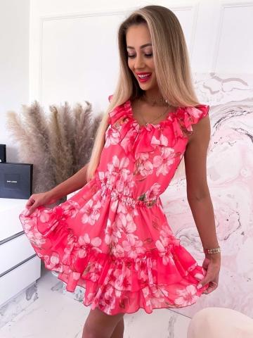 Sukienka koralowa w kwiaty Finezja