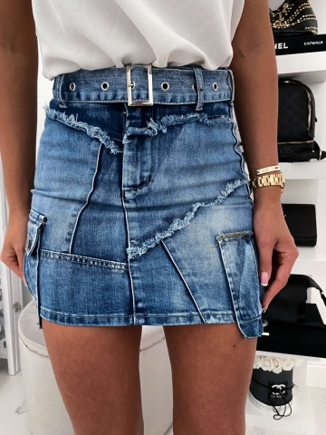 Spódniczka Jeans z kieszonkami i paskiem