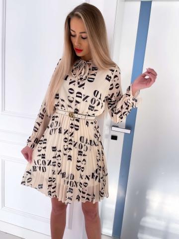 Beżowa sukienka z plisowanym dołem BAD