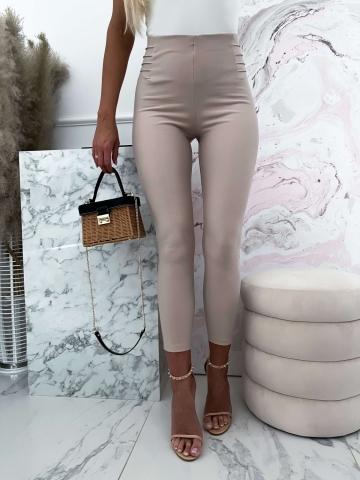 Beżowe eleganckie materiałowe spodnie Lola