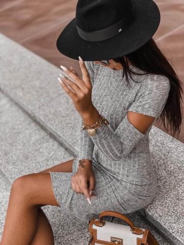 Szara sukienka Midi z rozcięciem na rękawie
