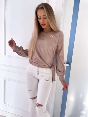 Beżowa elegancka bluzka Shine