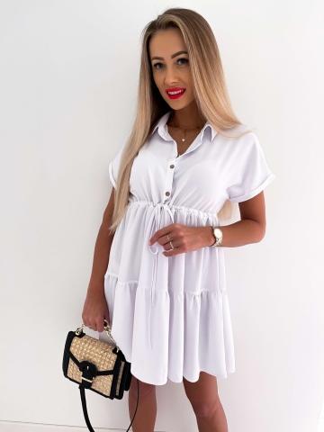 Sukienka Biała koszulowa z krótkim rękawem