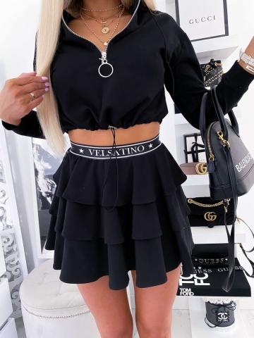 Czarna rozkloszowana spódnica Velsatino