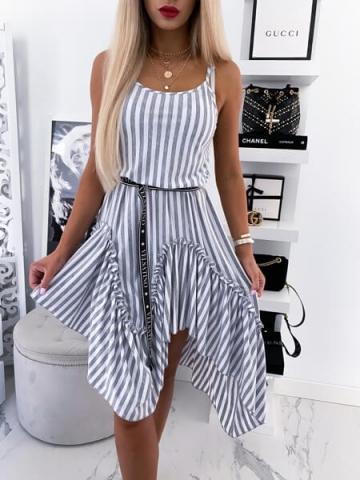 Asymetryczna Sukienka szaro - biała z paskiem