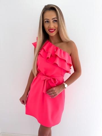 Koralowa Sukienka na jedno ramię BOCCA