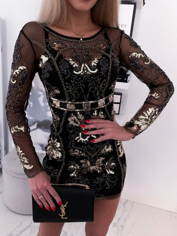 Sukienka Exclusive czarna zdobiona cekinami