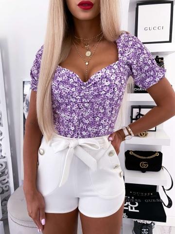 Bluzka damska liliowa w drobne kwiaty Xana
