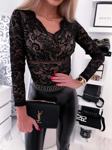 Body koronkowe beżowo czarne