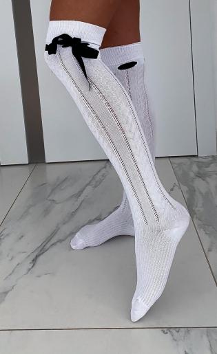 Zakolanówki białe ze wstążką