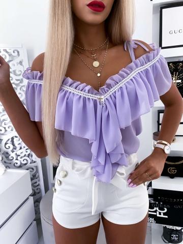 Liliowa bluzka hiszpanka z falbankami Xana