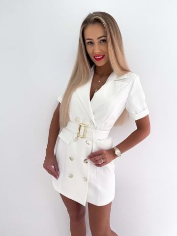 Biała marynarkowa sukienka z krótkim rękawem