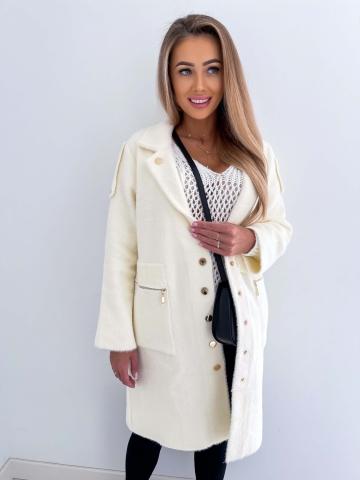 Kremowy dłuższy płaszcz Alpaka Luxuar