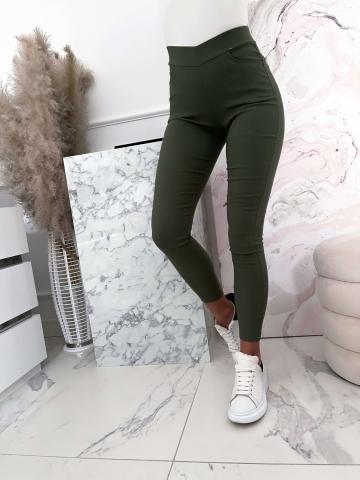 Zielone elastyczne spodnie z wysokim stanem