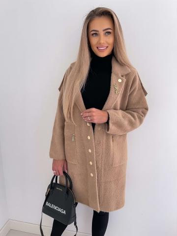 Karmelowy dłuższy płaszcz Alpaka Luxuar