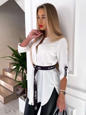 Biała długa koszula z paskiem La Blanche