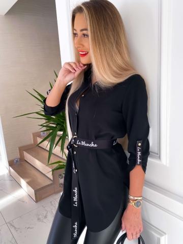Czarna długa koszula z paskiem La Blanche