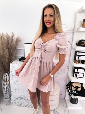 Muślinowa Sukienka beż Mini