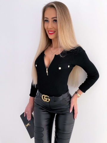 Czarna elastyczna bluzka z długim rękawem zip