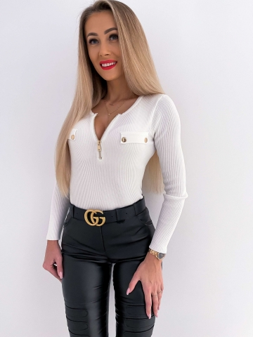 Elastyczna bluzka z długim rękawem ecru zip
