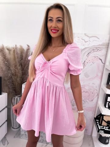 Różowa muślinowa Sukienka z krótkim rękawem Mini