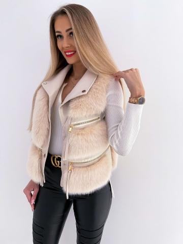 Beżowa kamizelka futrzak Luxury Style