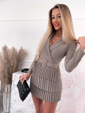 Sukienka plisowana Blanca Khaki