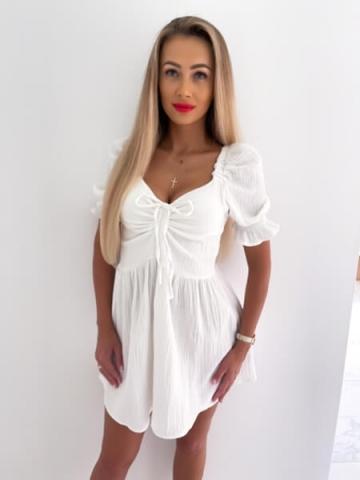 Biała rozkloszowana Sukienka Muślin