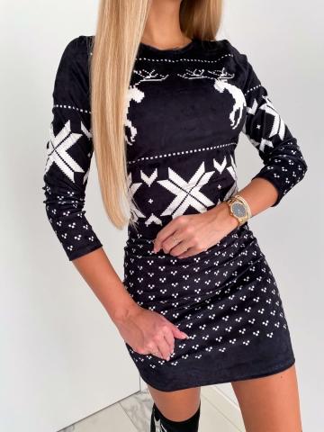 Czarna świąteczna sukienka renifery