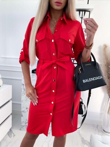 Czerwona sukienka koszulowa Midi Colori