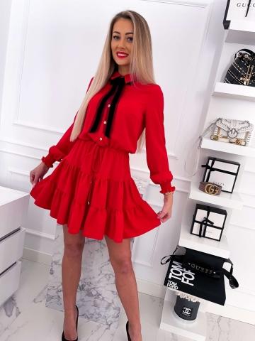 Czerwona sukienka z falbankami i kokardą Lalous
