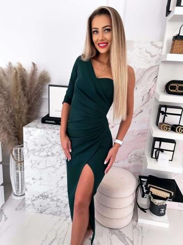 Sukienka butelkowa zieleń na jedno ramię Queen Maxi