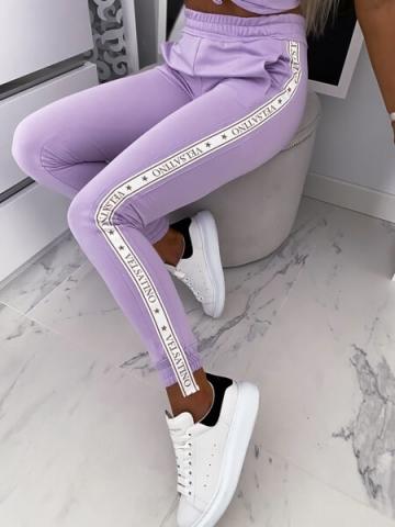 Liliowe Spodnie Velastino z Lampasem