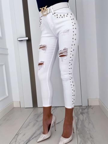 Białe spodnie z dżetami WhiteStar