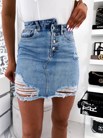 Spódnica krótka Jeans z przetarciami