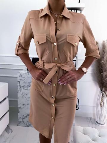 Beżowa sukienka koszulowa Midi Colori