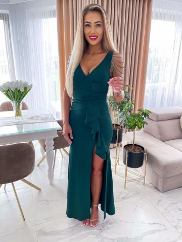 Zielona sukienka Maxi z falbanką i koralikami Monia