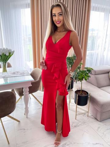 Czerwona sukienka Maxi z falbanką Monia